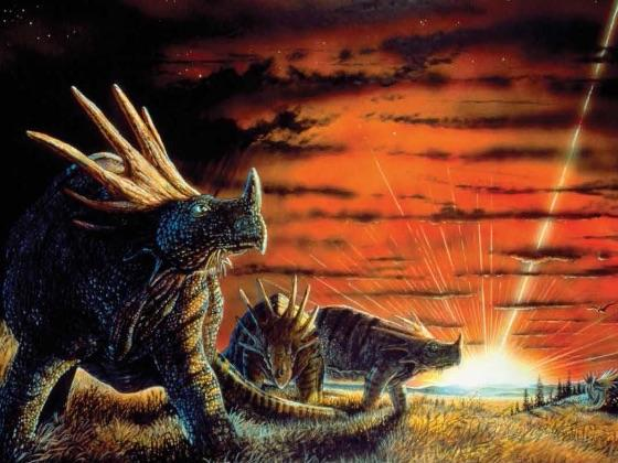 Artwork of dinosaurs watching the impact of a large asteroid on Earth.