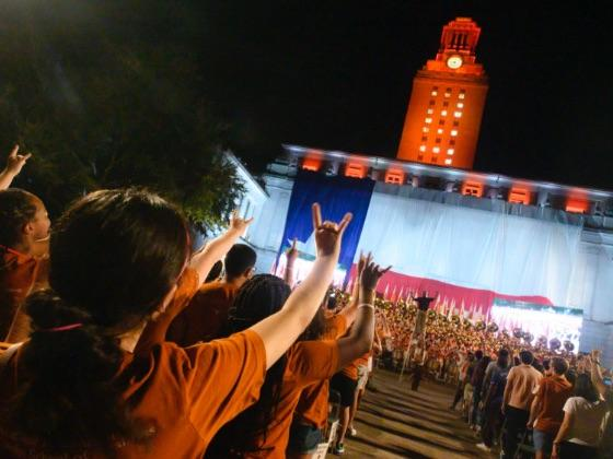 Students celebrating a university win