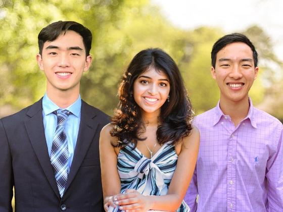 UT student entrepreneurs Allen Zhou, Aditi Merchant and Anthony Zhou