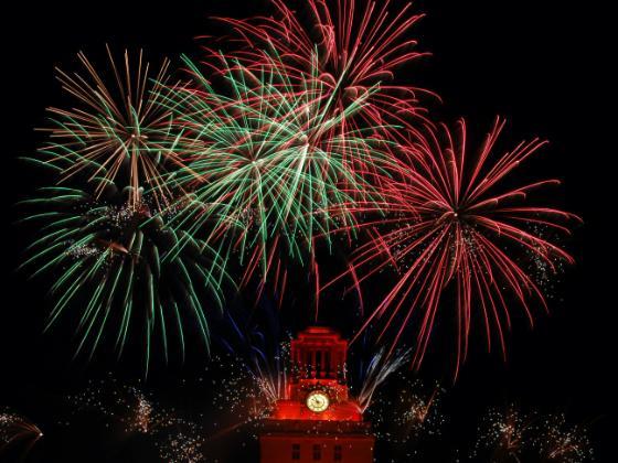 Fireworks over the UT Tower