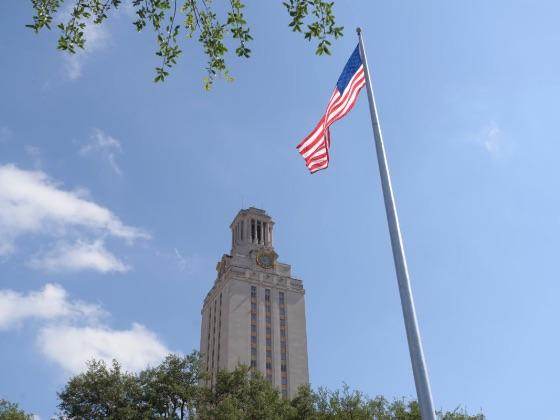 US Flag and UT Tower