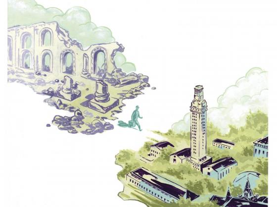 Illustration of Hatra and the University of Texas at Austin campus with person walking in between
