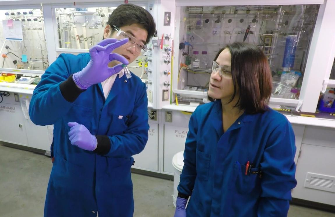 Gary Ong, co-founder and CEO of Celadyne Technologies, and Delia Milliron, professor, McKetta Department of Chemical Engineer