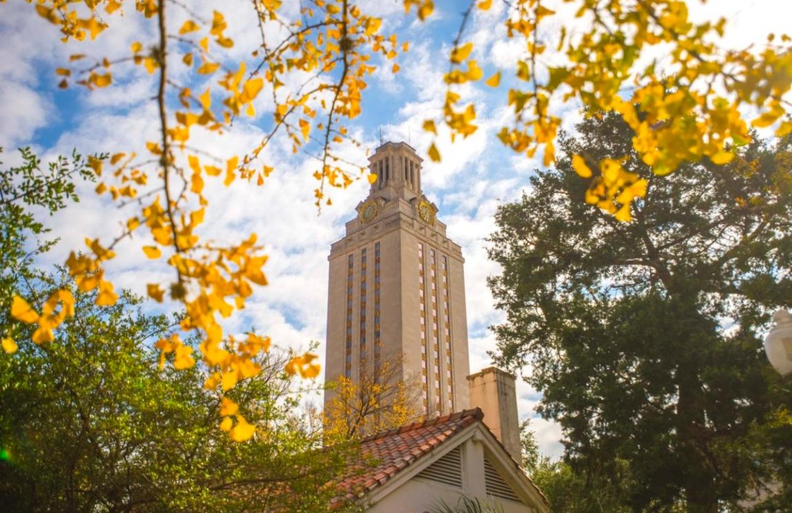 UT Tower and fall leaves