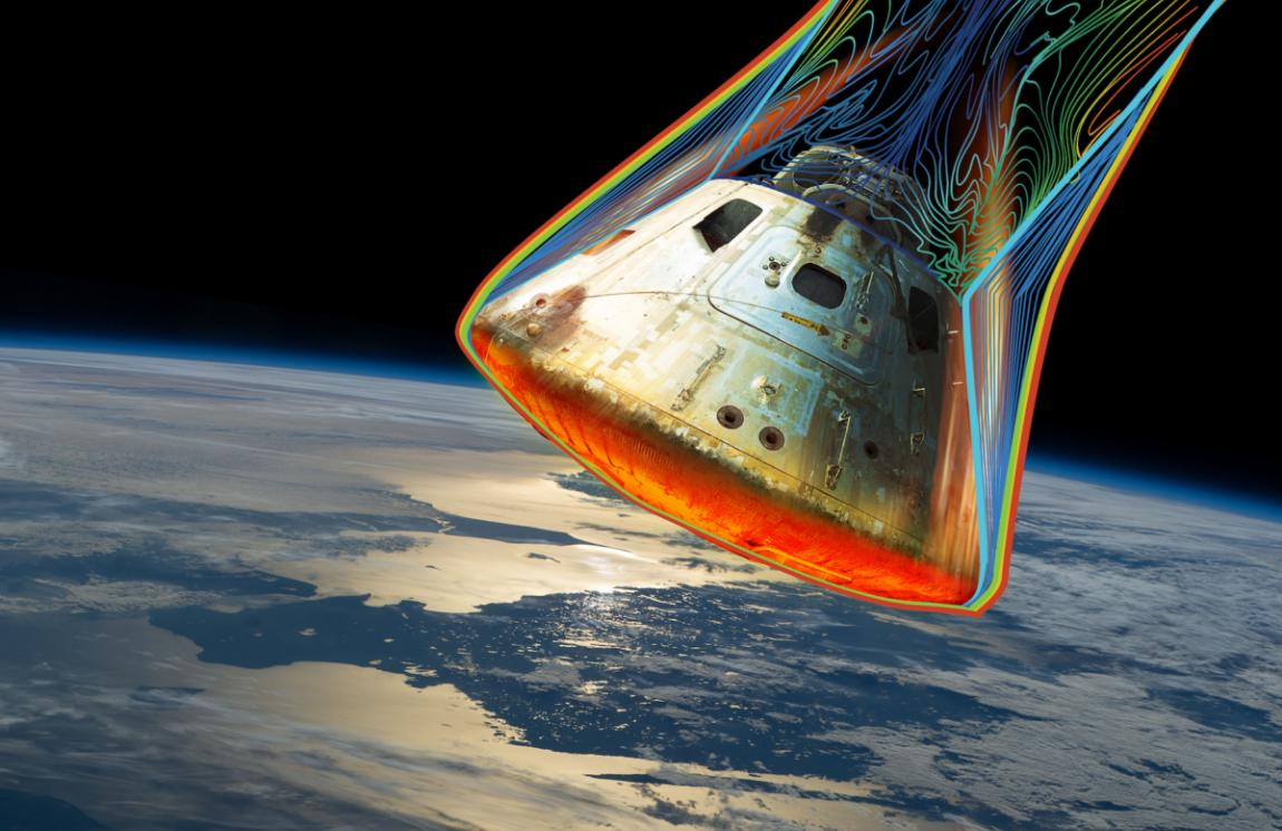 Predictive science is used to assess whether a space capsule will survive high temperatures during reentry into the atmospher