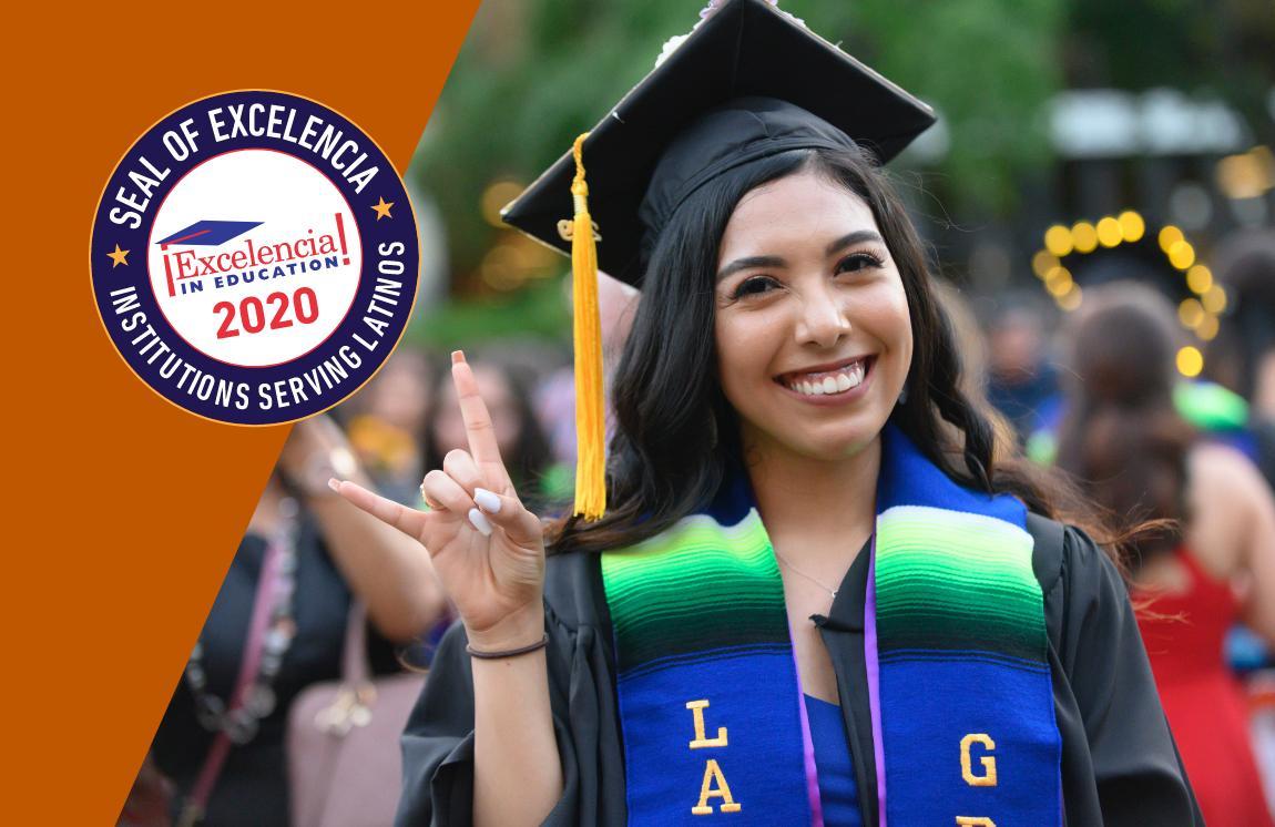 ¡Excelencia! in Education 2020. Seal of Excelencia – Institutuions Serving Latinos. Portrait of UT Graduate.