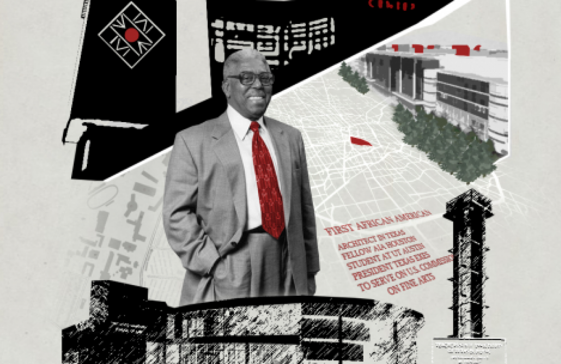 John S. Chase with drawings of some of the buildings he architected in background