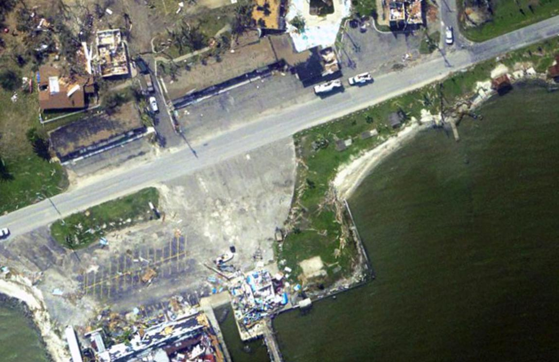 Aerial image taken from the survey aircraft of the extensive damage to Rockport by Hurricane Harvey.