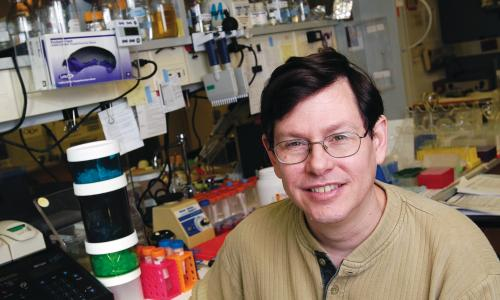 Chemistry Professor Andrew Ellington in lab.