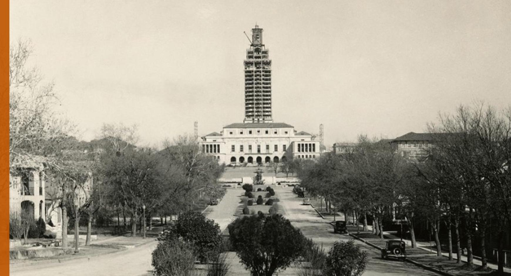 UT Tower construction from 19th Street looking up University Avenue 1937