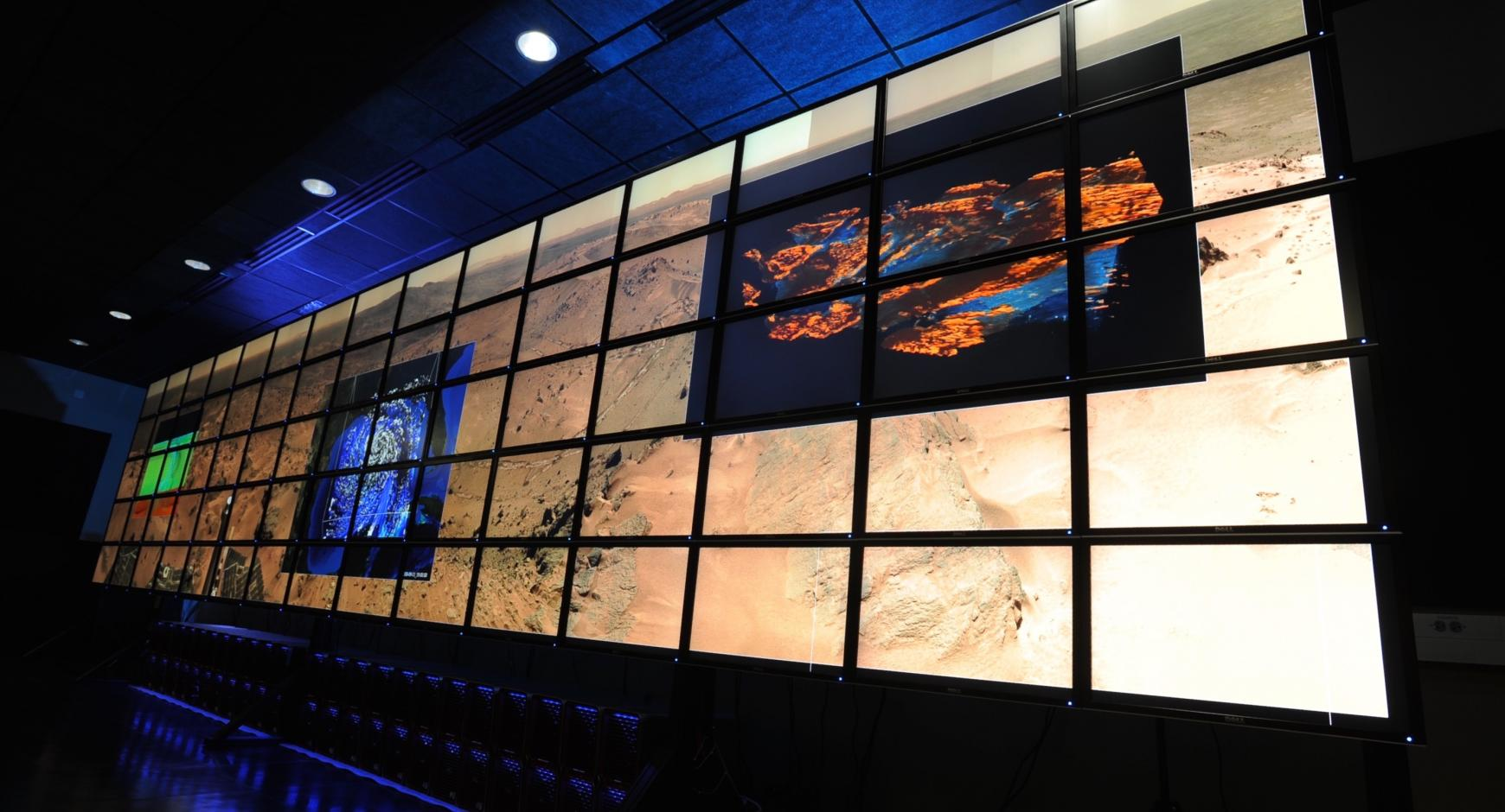 Large visualization screen used to explore and present scientific data.