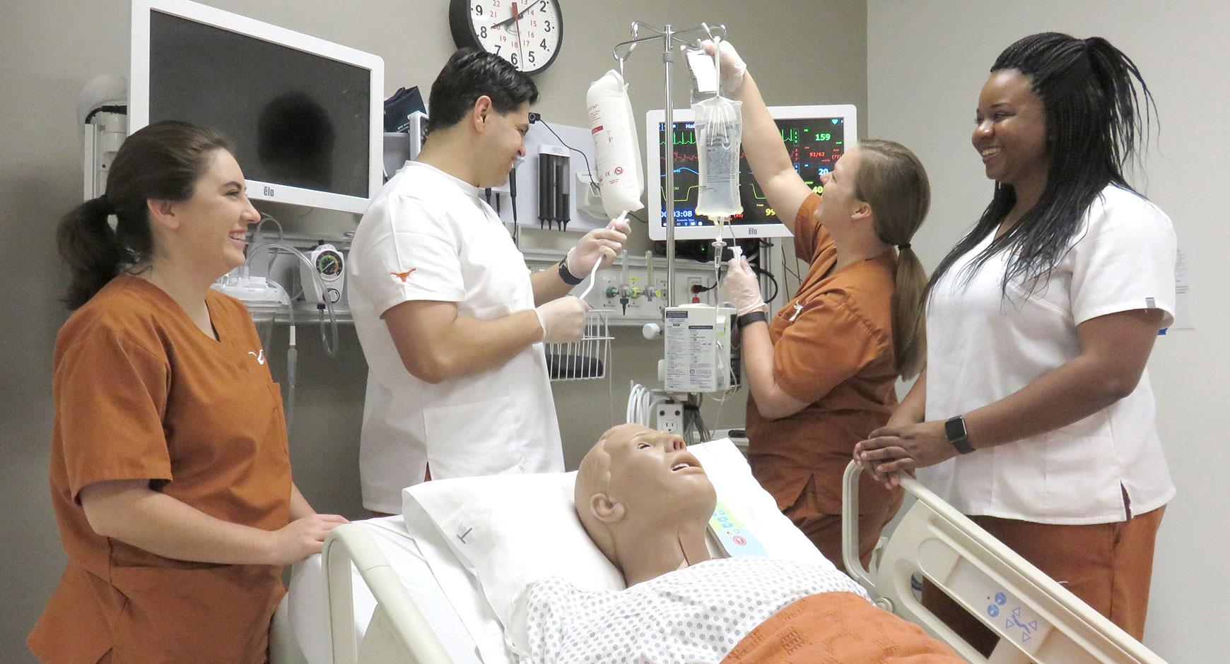 Nursing students receive instruction