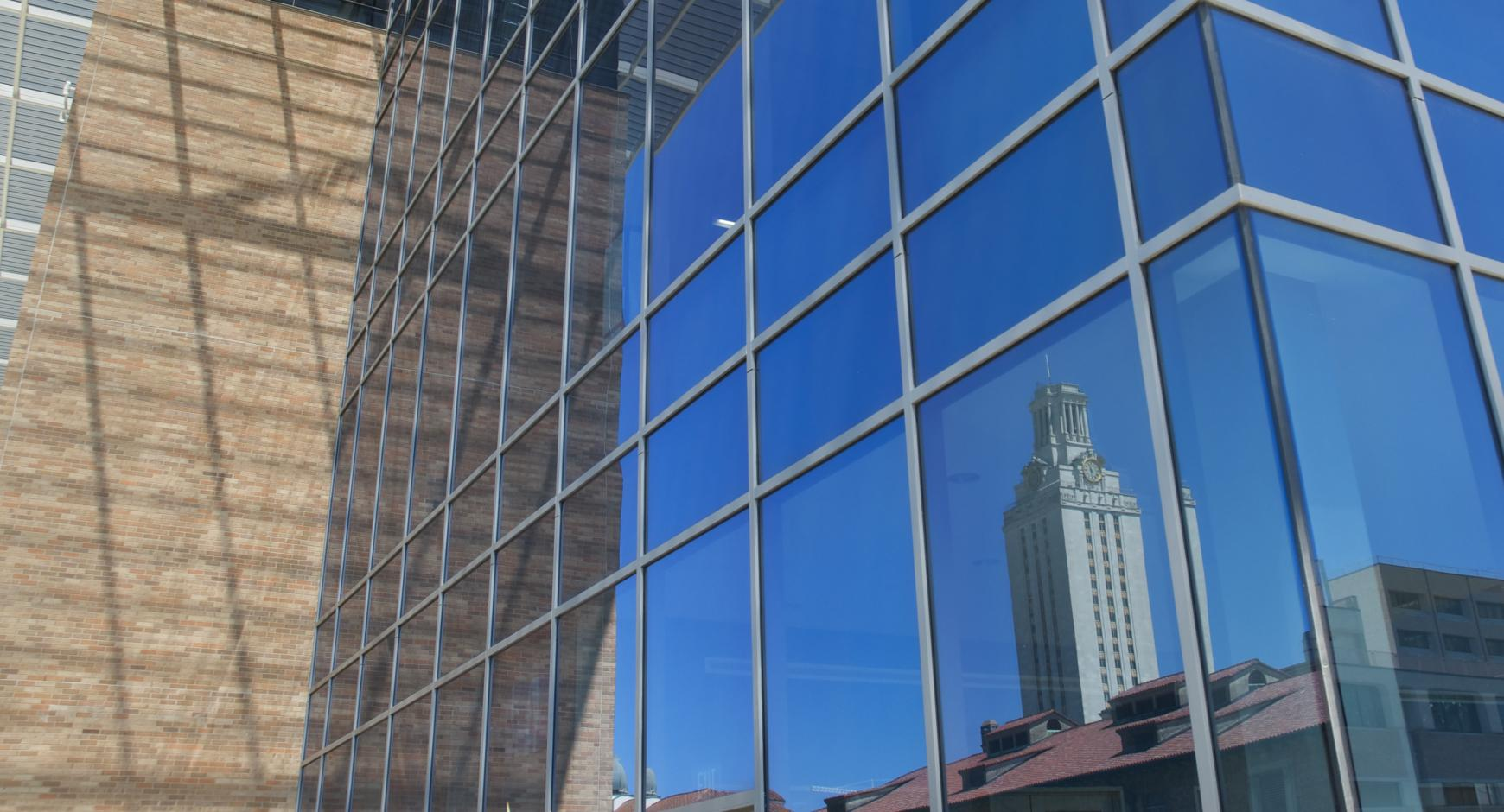 The Tower reflected in the Norman Hackerman Building