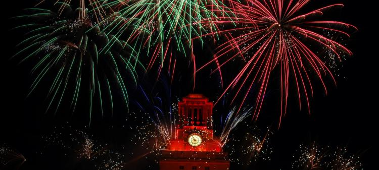 Fireworks above the UT Tower