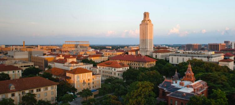 The university of Texas at Austin campus at sunset