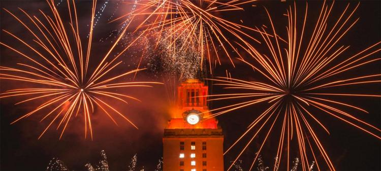 UT Tower and Fireworks