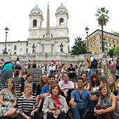 Students on trip visiting historical sites.