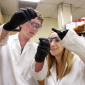 Biomedical engineering students examine work.