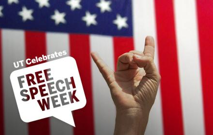 UT Celebrates Free Speech Week. Hand with Hook 'em hand sign in front of a USA flag