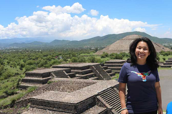 UT student in Mexico atop the Pyramid of the Sun