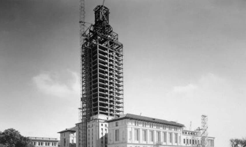 Old black & white photo of UT Tower construction