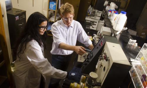 Biomedical engineering graduate student conducting research