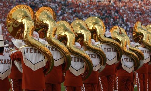The Longhorn Band tuba section