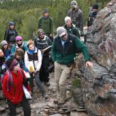 Lecturer Mark Helper on field trip with students to Hecla Folds.