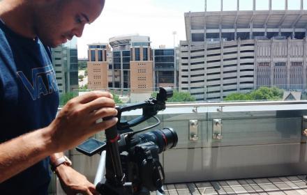 RTF student preparing to film an interview.
