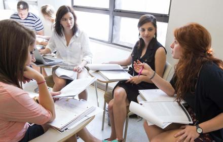 Students participating in group discussion.