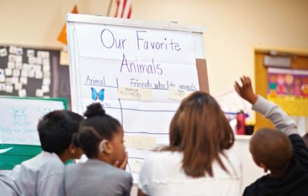 Young students in elementary classroom.